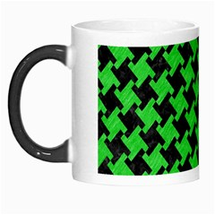Houndstooth2 Black Marble & Green Colored Pencil Morph Mugs by trendistuff