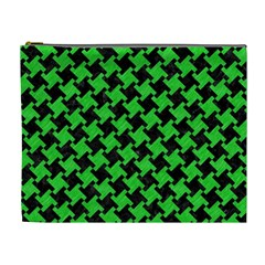 Houndstooth2 Black Marble & Green Colored Pencil Cosmetic Bag (xl) by trendistuff