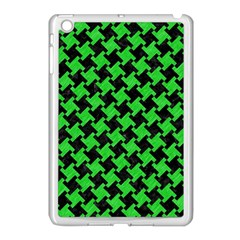 Houndstooth2 Black Marble & Green Colored Pencil Apple Ipad Mini Case (white) by trendistuff