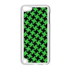 Houndstooth2 Black Marble & Green Colored Pencil Apple Ipod Touch 5 Case (white) by trendistuff