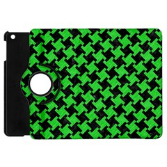 Houndstooth2 Black Marble & Green Colored Pencil Apple Ipad Mini Flip 360 Case by trendistuff