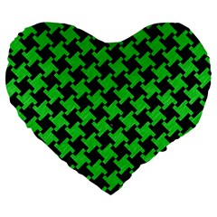 Houndstooth2 Black Marble & Green Colored Pencil Large 19  Premium Heart Shape Cushions by trendistuff