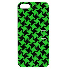 Houndstooth2 Black Marble & Green Colored Pencil Apple Iphone 5 Hardshell Case With Stand by trendistuff