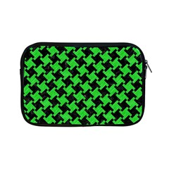 Houndstooth2 Black Marble & Green Colored Pencil Apple Ipad Mini Zipper Cases by trendistuff