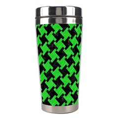 Houndstooth2 Black Marble & Green Colored Pencil Stainless Steel Travel Tumblers by trendistuff