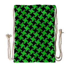 Houndstooth2 Black Marble & Green Colored Pencil Drawstring Bag (large)