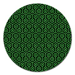 Hexagon1 Black Marble & Green Colored Pencil Magnet 5  (round)