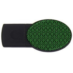 Hexagon1 Black Marble & Green Colored Pencil Usb Flash Drive Oval (2 Gb) by trendistuff