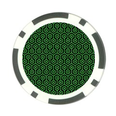 Hexagon1 Black Marble & Green Colored Pencil Poker Chip Card Guard (10 Pack) by trendistuff