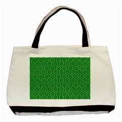 Hexagon1 Black Marble & Green Colored Pencil (r) Basic Tote Bag by trendistuff