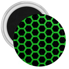 Hexagon2 Black Marble & Green Colored Pencil 3  Magnets by trendistuff