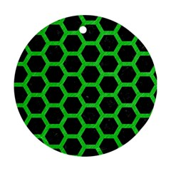 Hexagon2 Black Marble & Green Colored Pencil Ornament (round) by trendistuff