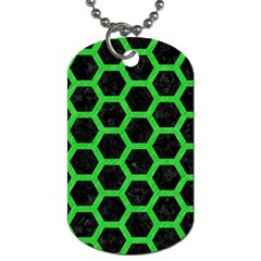 Hexagon2 Black Marble & Green Colored Pencil Dog Tag (two Sides) by trendistuff