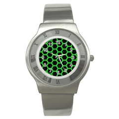 Hexagon2 Black Marble & Green Colored Pencil Stainless Steel Watch by trendistuff