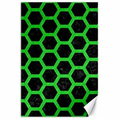Hexagon2 Black Marble & Green Colored Pencil Canvas 24  X 36  by trendistuff
