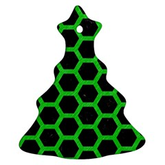 Hexagon2 Black Marble & Green Colored Pencil Christmas Tree Ornament (two Sides)
