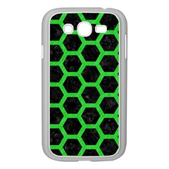 Hexagon2 Black Marble & Green Colored Pencil Samsung Galaxy Grand Duos I9082 Case (white) by trendistuff