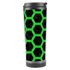 Hexagon2 Black Marble & Green Colored Pencil Travel Tumbler by trendistuff