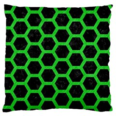 Hexagon2 Black Marble & Green Colored Pencil Standard Flano Cushion Case (one Side) by trendistuff