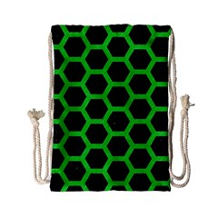 Hexagon2 Black Marble & Green Colored Pencil Drawstring Bag (small) by trendistuff