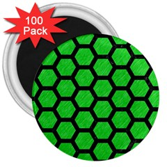 Hexagon2 Black Marble & Green Colored Pencil (r) 3  Magnets (100 Pack) by trendistuff