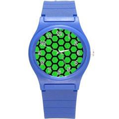 Hexagon2 Black Marble & Green Colored Pencil (r) Round Plastic Sport Watch (s) by trendistuff