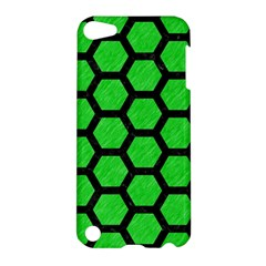 Hexagon2 Black Marble & Green Colored Pencil (r) Apple Ipod Touch 5 Hardshell Case by trendistuff