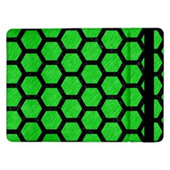 Hexagon2 Black Marble & Green Colored Pencil (r) Samsung Galaxy Tab Pro 12 2  Flip Case by trendistuff