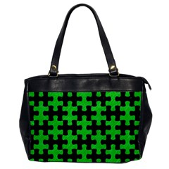 Puzzle1 Black Marble & Green Colored Pencil Office Handbags by trendistuff