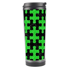 Puzzle1 Black Marble & Green Colored Pencil Travel Tumbler by trendistuff