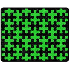 Puzzle1 Black Marble & Green Colored Pencil Double Sided Fleece Blanket (medium)  by trendistuff