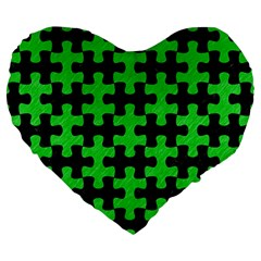 Puzzle1 Black Marble & Green Colored Pencil Large 19  Premium Flano Heart Shape Cushions by trendistuff