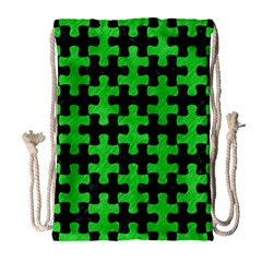 Puzzle1 Black Marble & Green Colored Pencil Drawstring Bag (large)