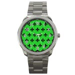 ROYAL1 BLACK MARBLE & GREEN COLORED PENCIL Sport Metal Watch Front