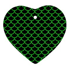 Scales1 Black Marble & Green Colored Pencil Heart Ornament (two Sides) by trendistuff