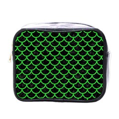 Scales1 Black Marble & Green Colored Pencil Mini Toiletries Bags by trendistuff
