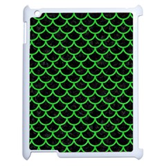 Scales1 Black Marble & Green Colored Pencil Apple Ipad 2 Case (white) by trendistuff