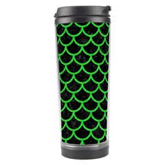 Scales1 Black Marble & Green Colored Pencil Travel Tumbler by trendistuff