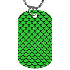 Scales1 Black Marble & Green Colored Pencil (r) Dog Tag (one Side) by trendistuff