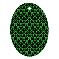 Scales2 Black Marble & Green Colored Pencil Ornament (oval) by trendistuff