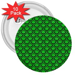 Scales2 Black Marble & Green Colored Pencil (r) 3  Buttons (10 Pack)  by trendistuff
