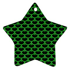 Scales3 Black Marble & Green Colored Pencil Ornament (star) by trendistuff