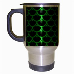 Scales3 Black Marble & Green Colored Pencil Travel Mug (silver Gray) by trendistuff