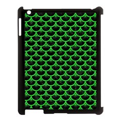 Scales3 Black Marble & Green Colored Pencil Apple Ipad 3/4 Case (black) by trendistuff