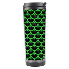 Scales3 Black Marble & Green Colored Pencil Travel Tumbler by trendistuff