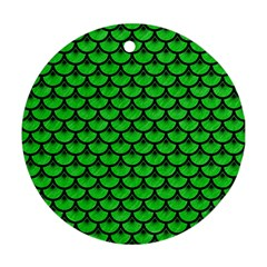 Scales3 Black Marble & Green Colored Pencil (r) Round Ornament (two Sides) by trendistuff