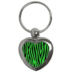 Skin4 Black Marble & Green Colored Pencil Key Chains (heart)  by trendistuff