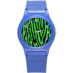 Skin4 Black Marble & Green Colored Pencil (r) Round Plastic Sport Watch (s) by trendistuff
