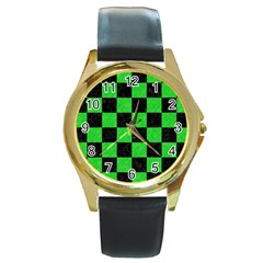 Square1 Black Marble & Green Colored Pencil Round Gold Metal Watch by trendistuff