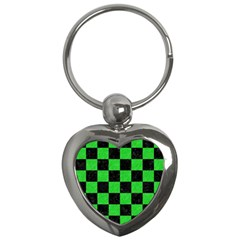 Square1 Black Marble & Green Colored Pencil Key Chains (heart)  by trendistuff